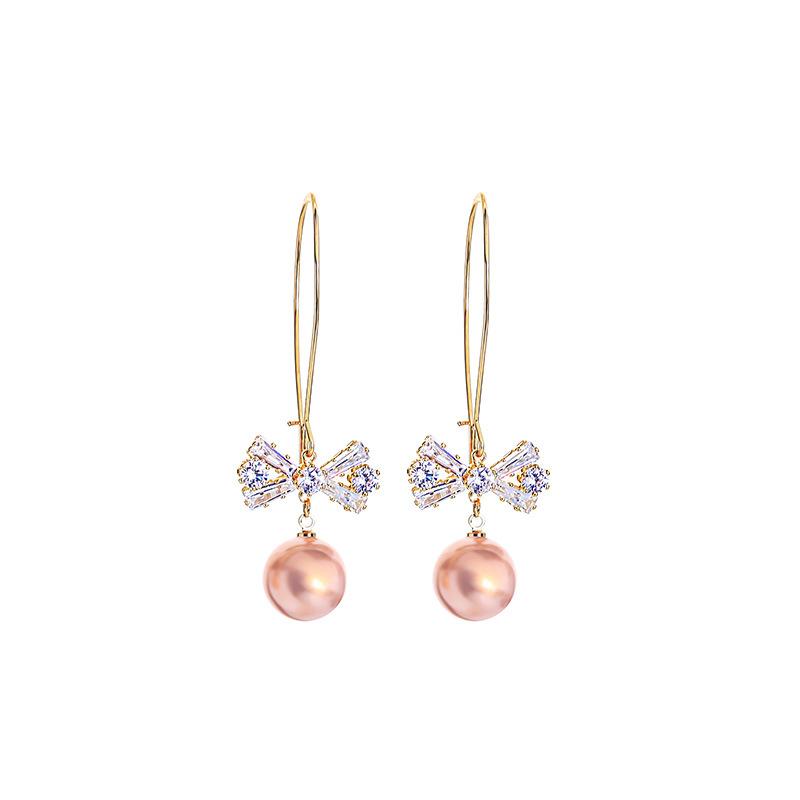 zircon bow long all-match creative new geometric pearl earrings wholesale NHQD245841