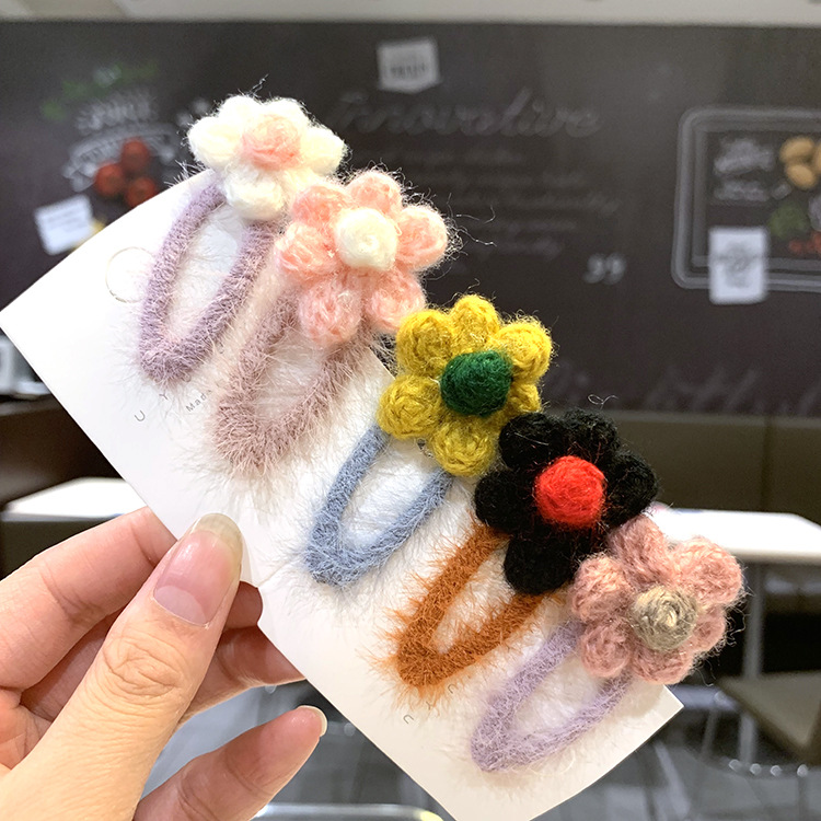 Korea handmade plush flower hairpin back of the head headdress girl side clip headdress set wholesale nihaojewelry NHSA232315