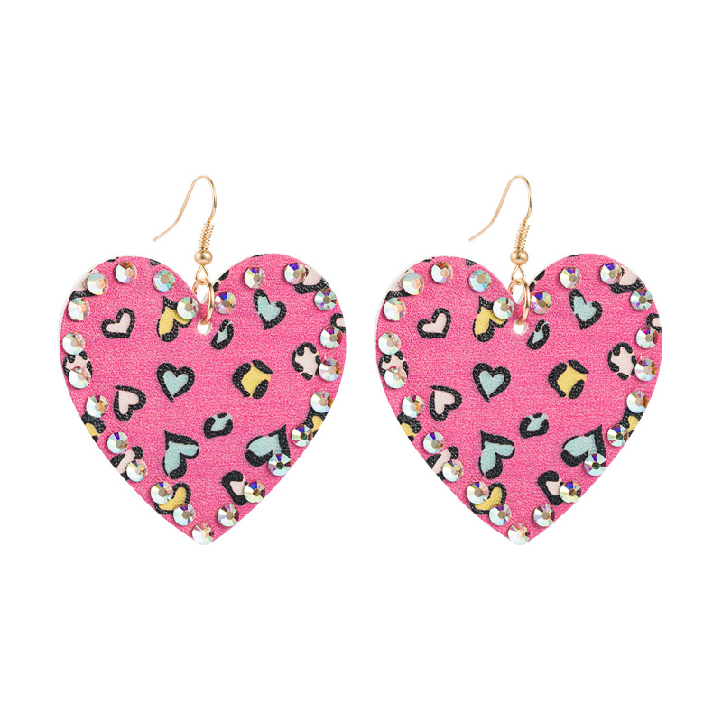 PU leather double-sided heart-shaped rhinestones long earrings NHLN289260