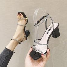 H6690-8一字带凉鞋女2020夏季新款仙女鞋粗跟中跟网红水钻凉拖