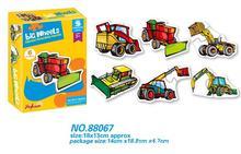 卡通大车轮工程车匹配拼图套装儿童早教创意DIY拼装拼图玩具