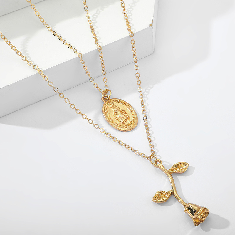 Alloy portrait rose flower pendant necklace Jesus multilayer clavicle chain women NHGY236074