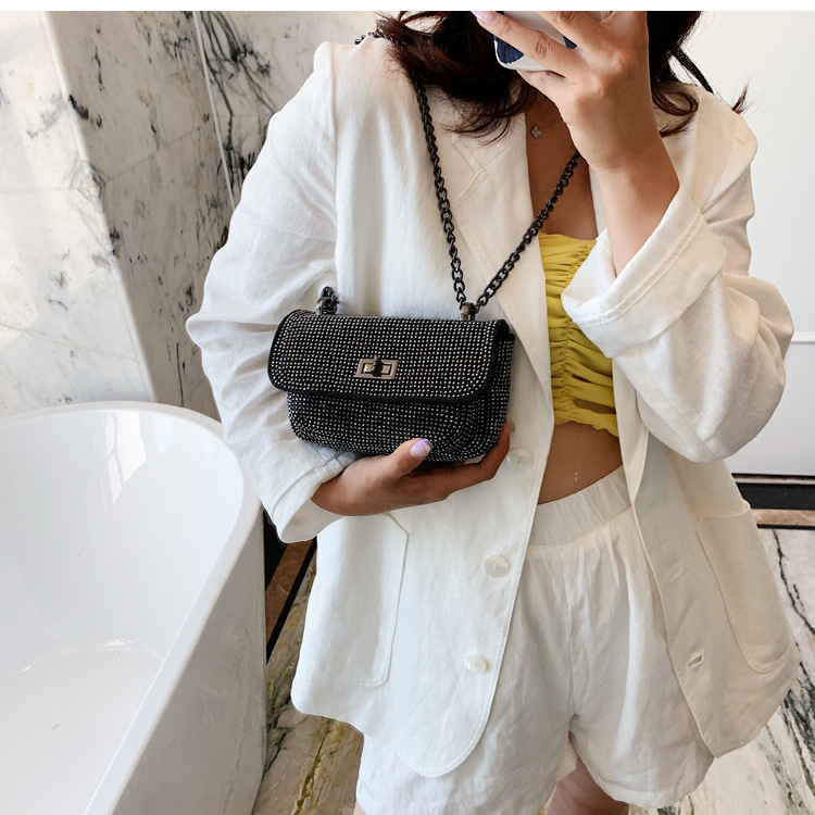 Wild diamond-lined small bag female bag  new trendy fashion chain messenger bag shoulder small square bag nihaojewelry wholesale NHXC223231