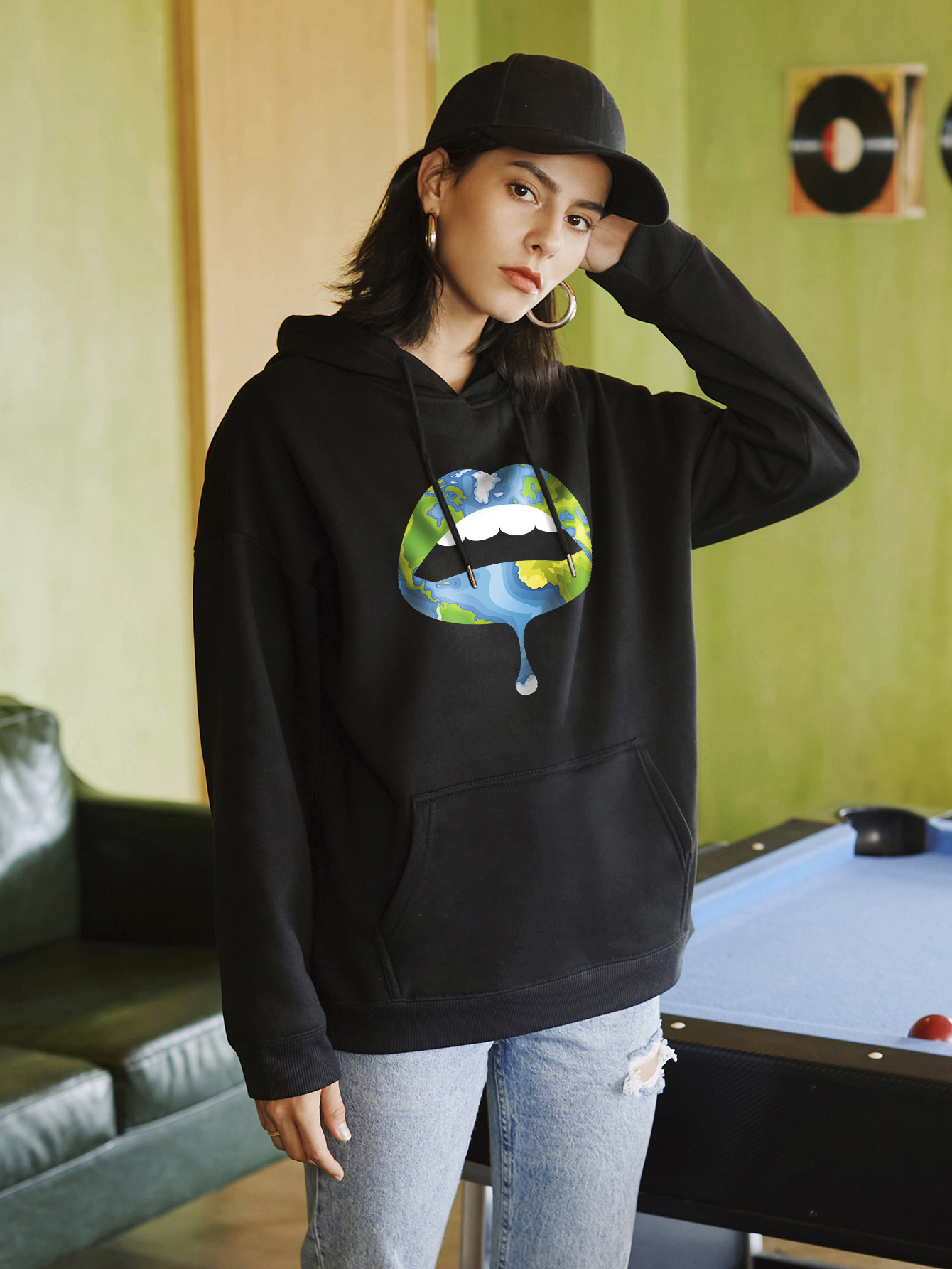 sexy lips street casual hooded sweater NSSN2272