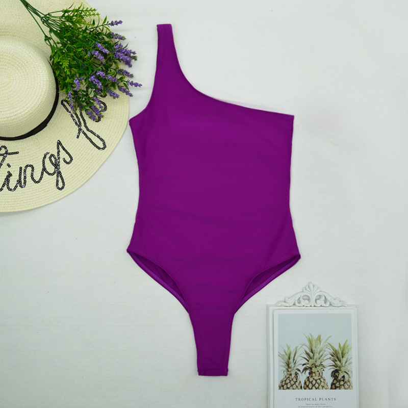 new one-piece swimsuit ladies one-piece sexy solid color one-piece swimsuit  NSHL2302