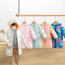 20冬装新款炫彩亮面儿童羽绒服中长款女童男童宝宝加厚中大童反季