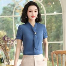 夏季新款韓國氣質顯瘦純色V領套頭短袖雪紡衫女薄款上衣名媛正裝