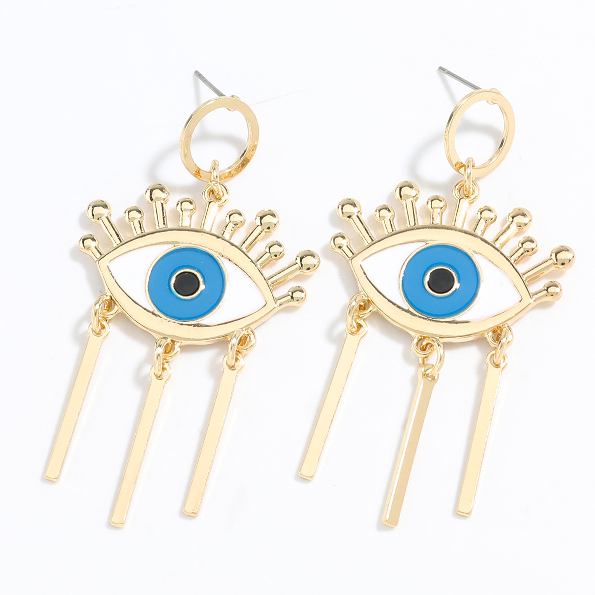 Exaggerated style creative alloy drip oil eye tassel retro earrings wholesale NHJE248104
