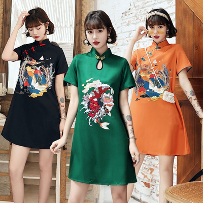 Black cheongsam Chinese Qipao dress fashion young girl retro loose Chinese style improved version dress casual short skirt