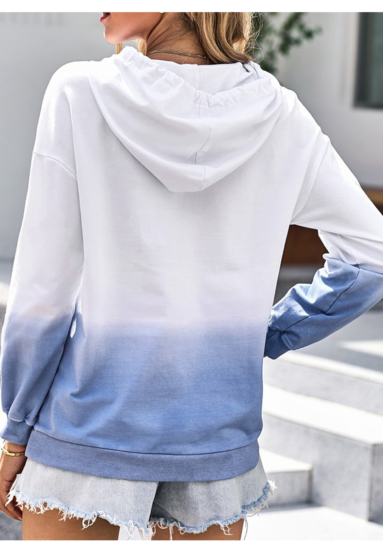 women's gradient color autumn and winter new style hooded casual long-sleeved pullover  NSSI2741