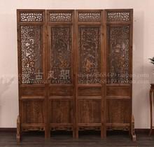 仿古中式实木香樟木酒店客厅办公室木雕镂空雕花屏风折屏隔断玄关