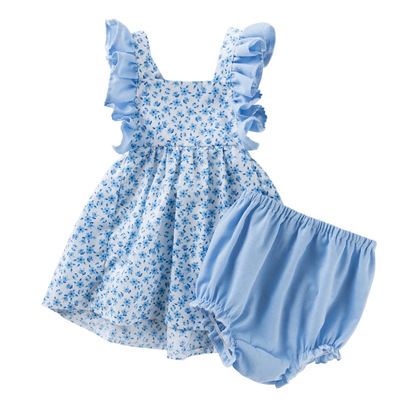Baby birthday party dresses lattice creative princess skirt Baby dresses girl floral suspender dress PP Pants Set Fashion