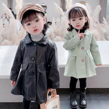 女童外套2020秋冬韩版宝宝皮衣潮流儿童小童中长款宫廷风Pu皮开衫