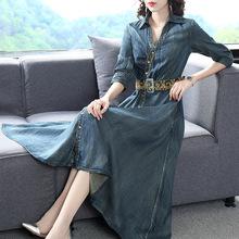 秋季新款連衣裙 復古風中長款翻領單排扣五分袖收腰配腰帶牛仔裙