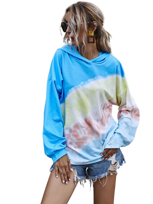 Autumn hot style tie-dye gradient printing long hooded sweater  NHDF59