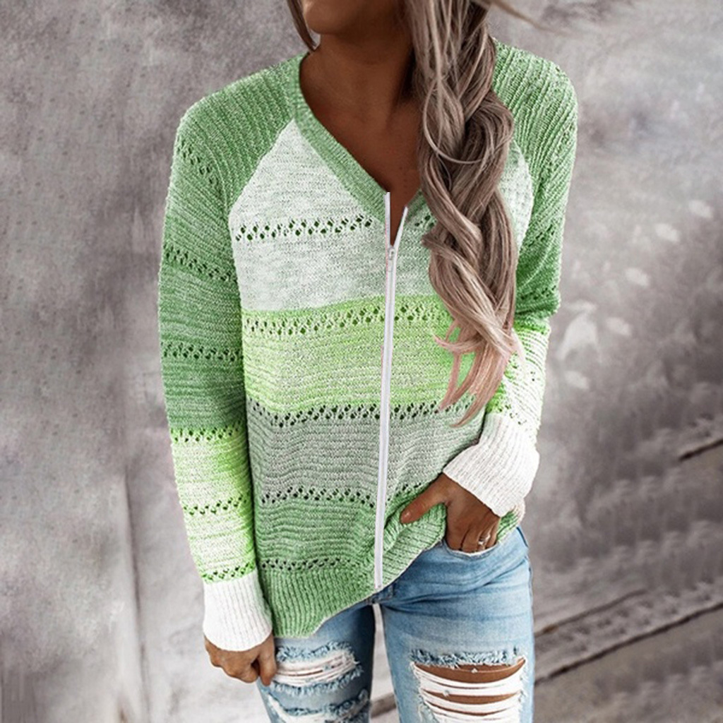 new autumn and winter V-neck long-sleeved zipper color matching sweater top  NSYF826