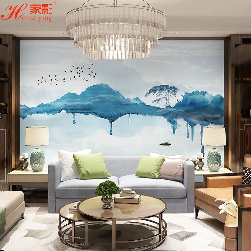 新中式茶館意境墻布抽象水墨背景無縫壁畫電視沙發餐廳背景墻壁紙