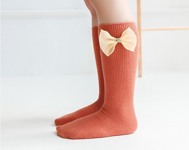 mid-length tube socks autumn new solid color socks cute bow baby over-knee socks NHER246534