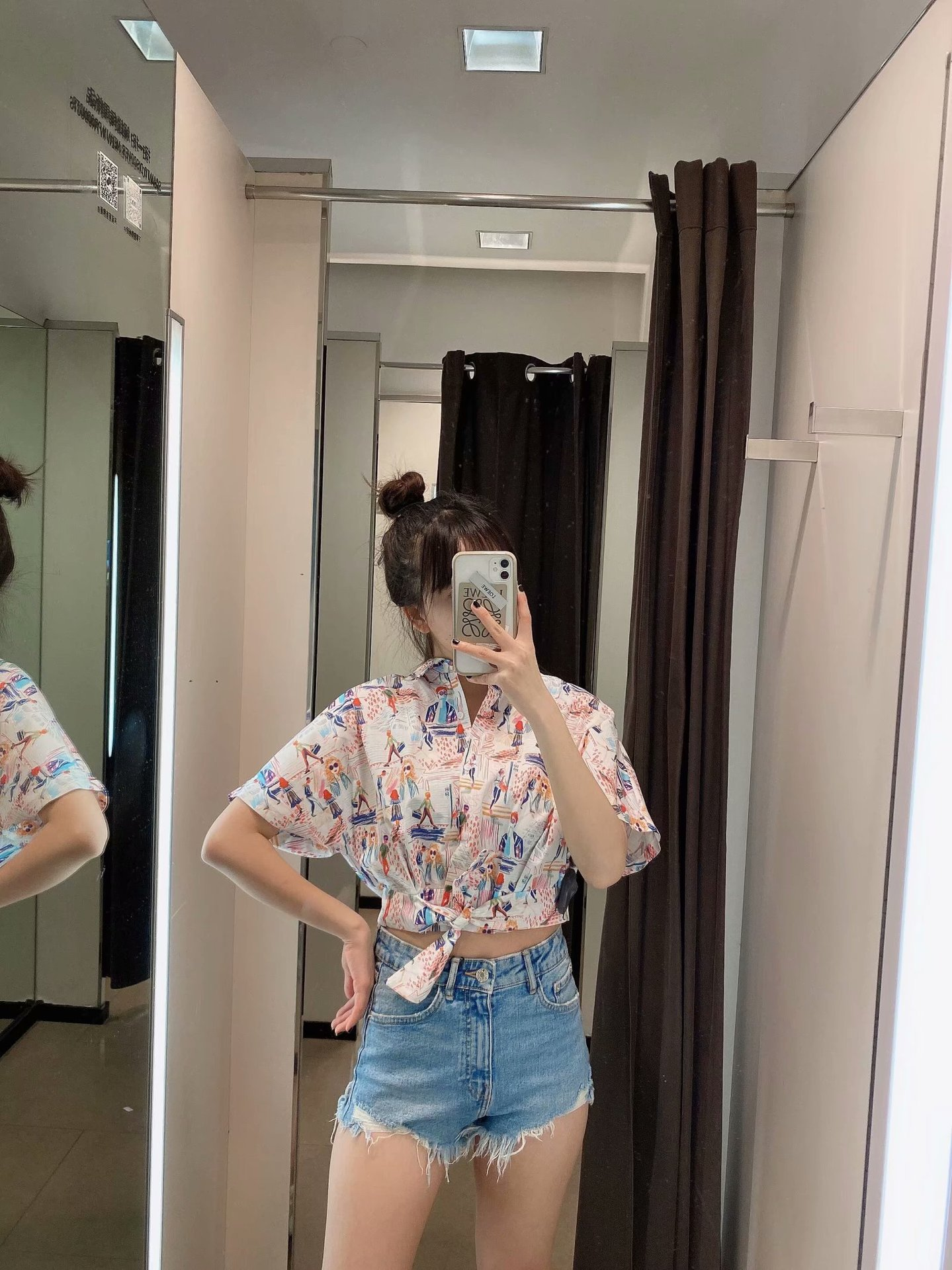 New spring bowknot decorated printed blouse tops wholesale NHAM207619