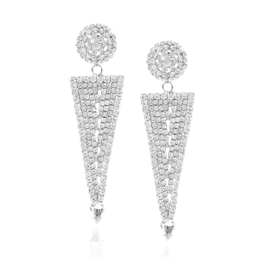 Fashion exaggerated claw chain earrings geometric triangle full diamond long earrings NHMD204439