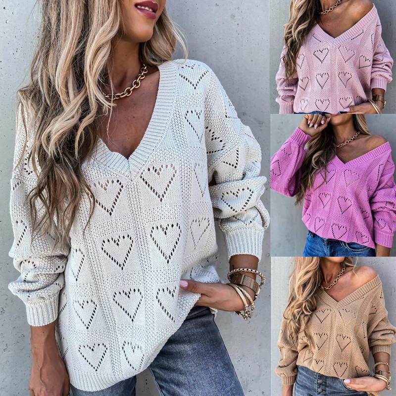 2020 女装秋冬新款  欧美eBay wish 纯色V领心形镂空宽松针织毛衣