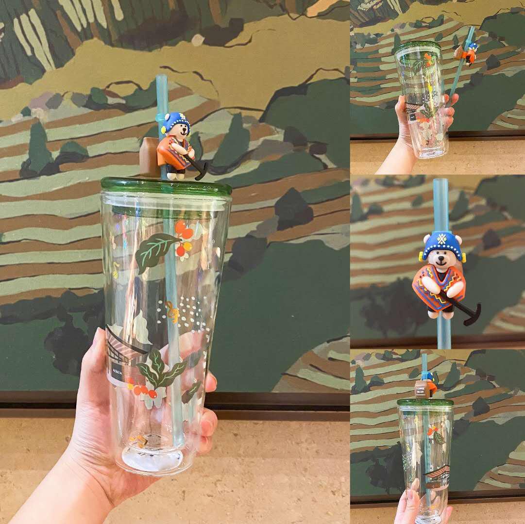 星爸爸2021咖啡农夫小熊双层玻璃吸管杯子大容量玻璃杯水杯礼品杯