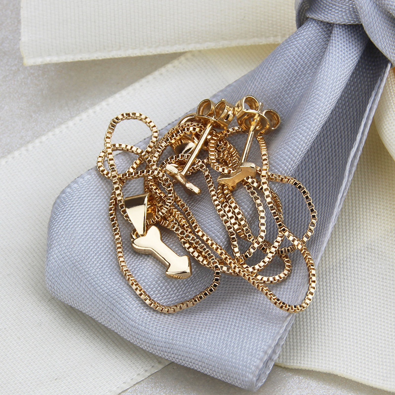 hot selling simple flat arrow necklace set new gold-plated pendant earrings  wholesale nihaojewelry NHBP232024