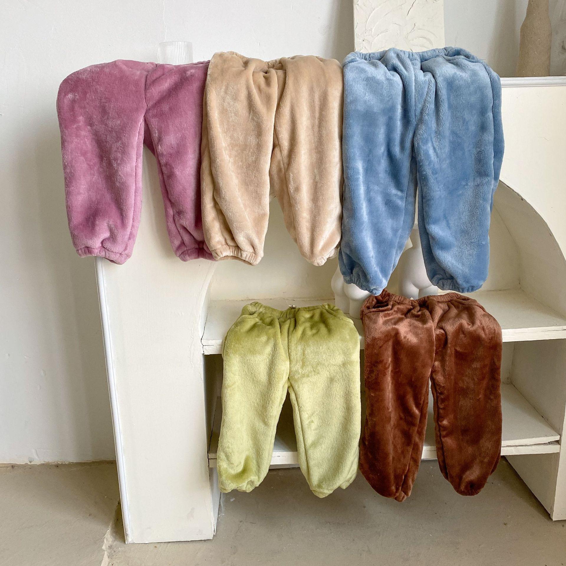 冬儿童法兰绒宅宅裤 男女童珊瑚绒长裤纯色宽松家居裤暖暖睡裤
