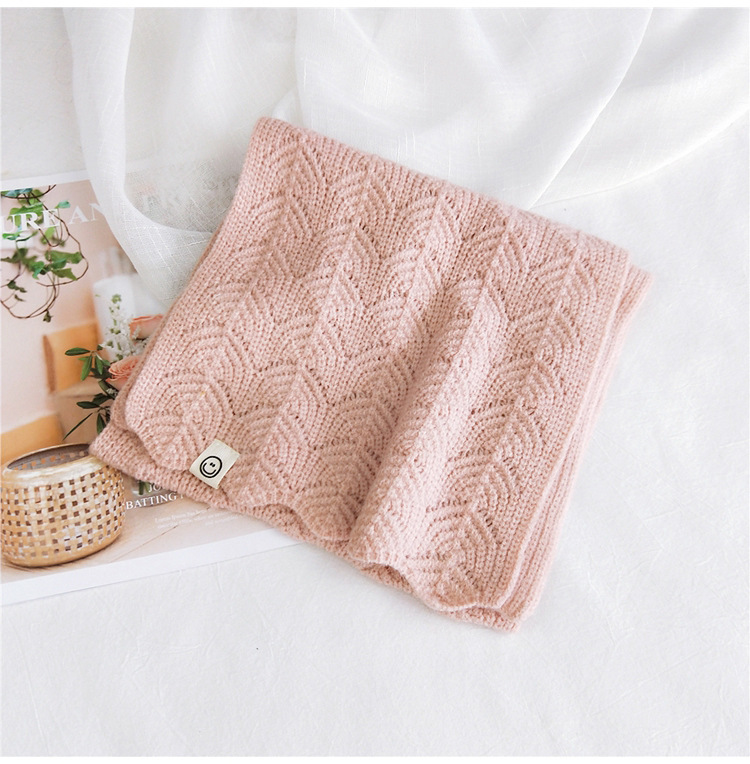 Pure color dualuse knitted short scarf women autumn Korean fashion students warm scarf NHMN269342