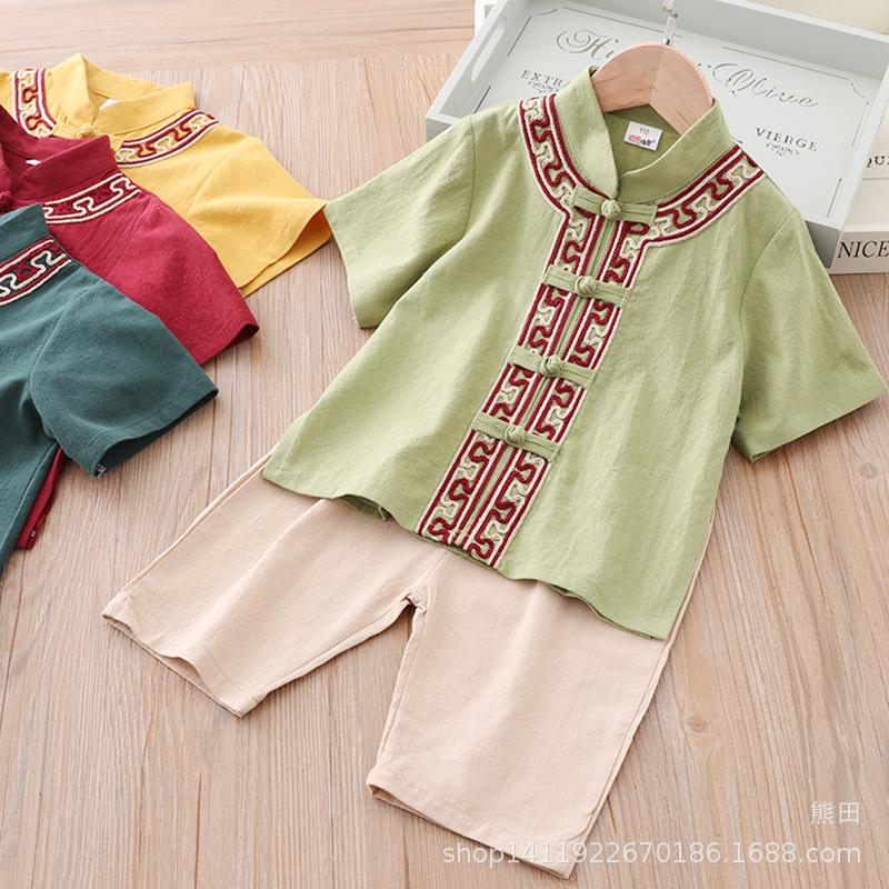 儿童汉服女中国风童装民族风男童唐装夏装两件套宝宝古装棉麻套装