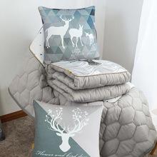 短毛绒北欧两用抱枕被子来图定制logo车内折叠靠垫被午休毯子靠枕