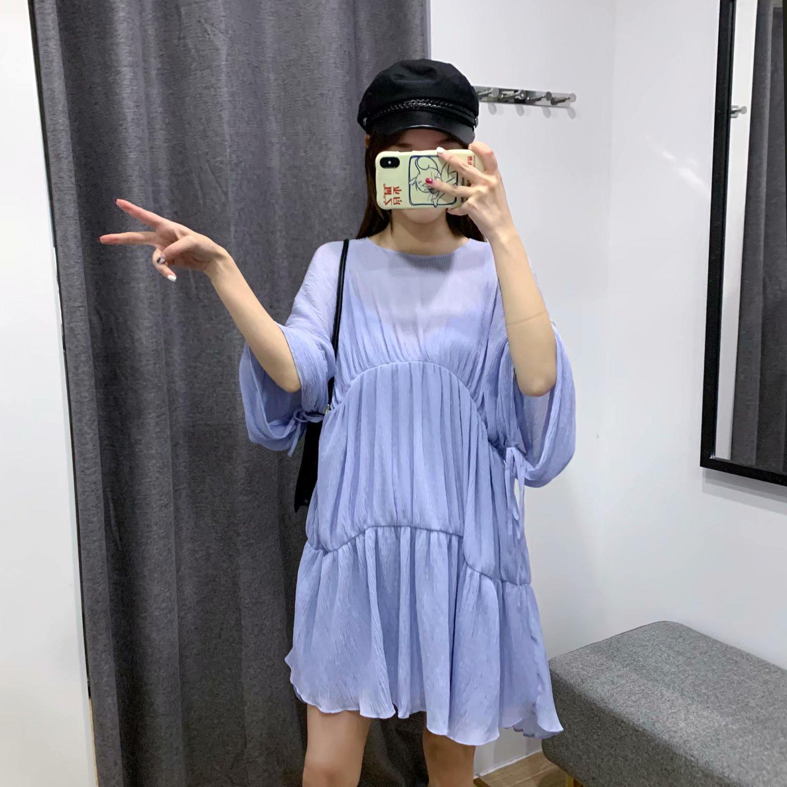 Wholesale Women's Spring And Summer New Loose Bat Sleeve Skirt Pleated Dress NHAM203351