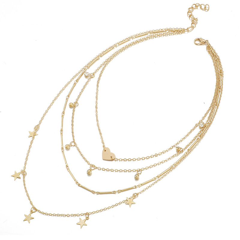 five-pointed star multi-layer necklace new fashion diamond love star necklace jewelry wholesale nihaojewelry NHGY229347