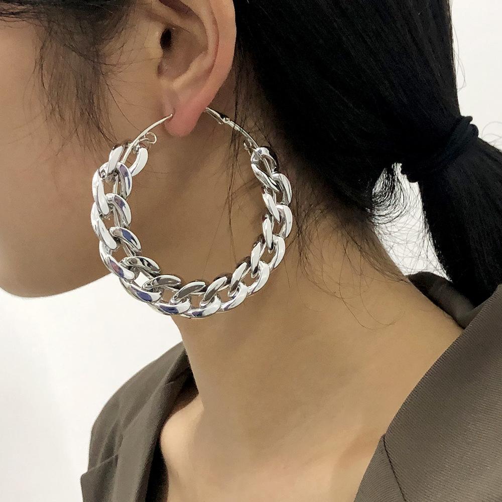 exaggerated punk big circle earrings NHMD277271
