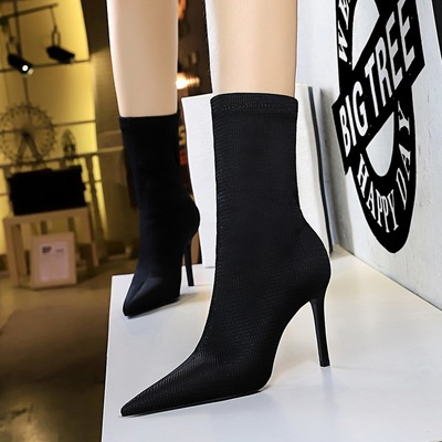 315-11 European and American fashion contracted fine thin boots with high heels pointed winter wool show thin and sexy n