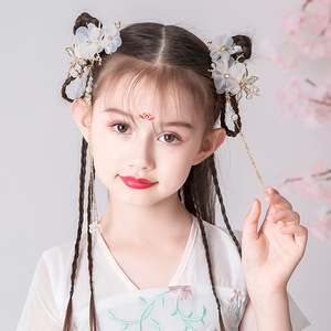 chinese hanfu hair accessory for girls Headwear of Chinese Hanfu nationality pair clip children's tassel step rocking hairpin