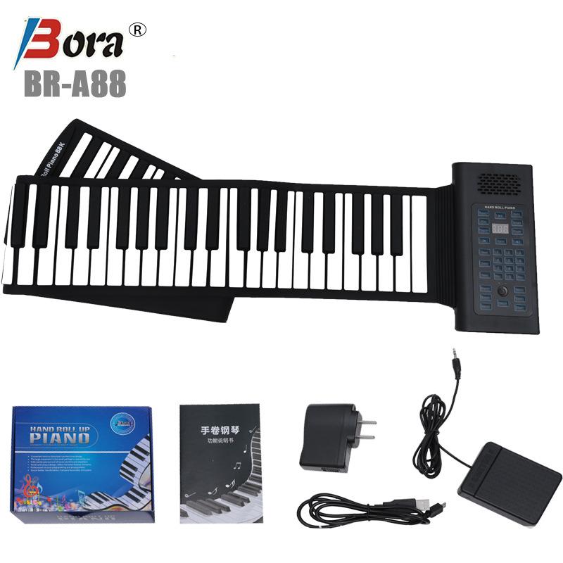 东莞博锐可折叠硅胶便携电子手卷钢琴批发厂家