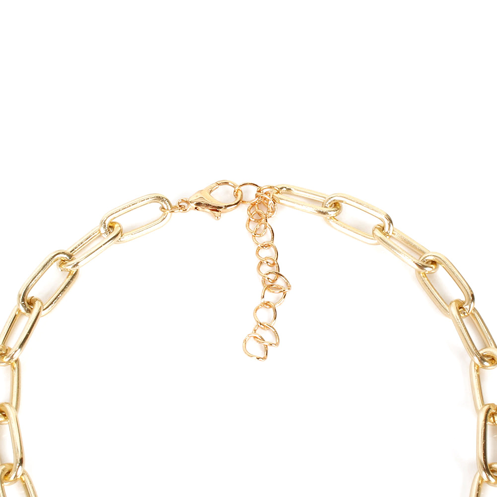 fashion link buckle specialshaped pearl alloy clavicle chain necklace for women NHCT244580