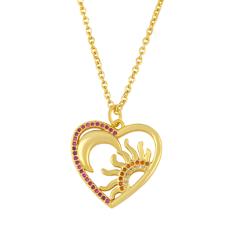 butterfly pendant clavicle chain simple sun moon diamond sweater chain necklace NHAS263086