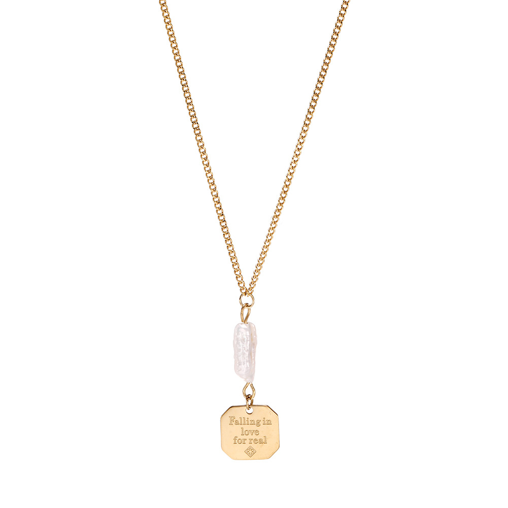 Korean simple necklace female stainless steel coin geometry English love necklace NHJJ206726