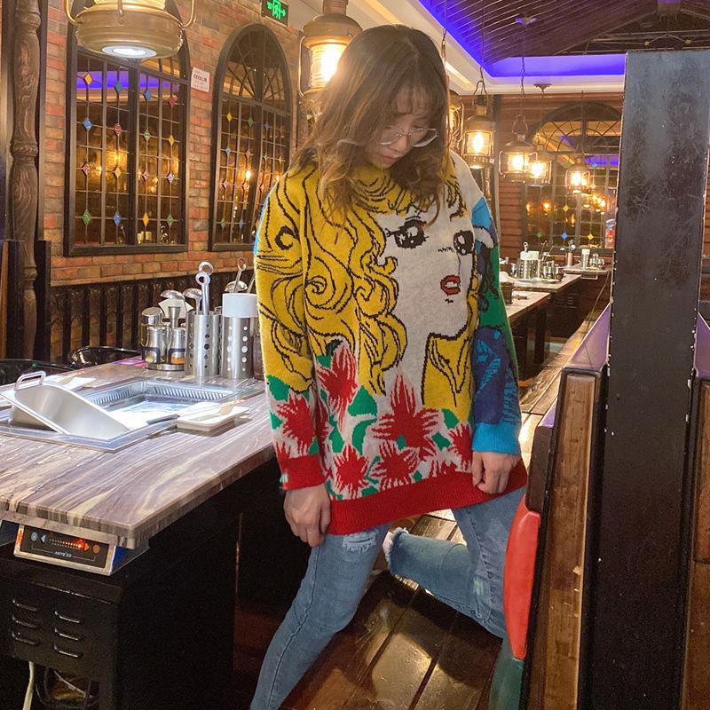 大码针织毛衣时尚新款2020秋冬羊毛衫女圆领打底织花个性宽松大码