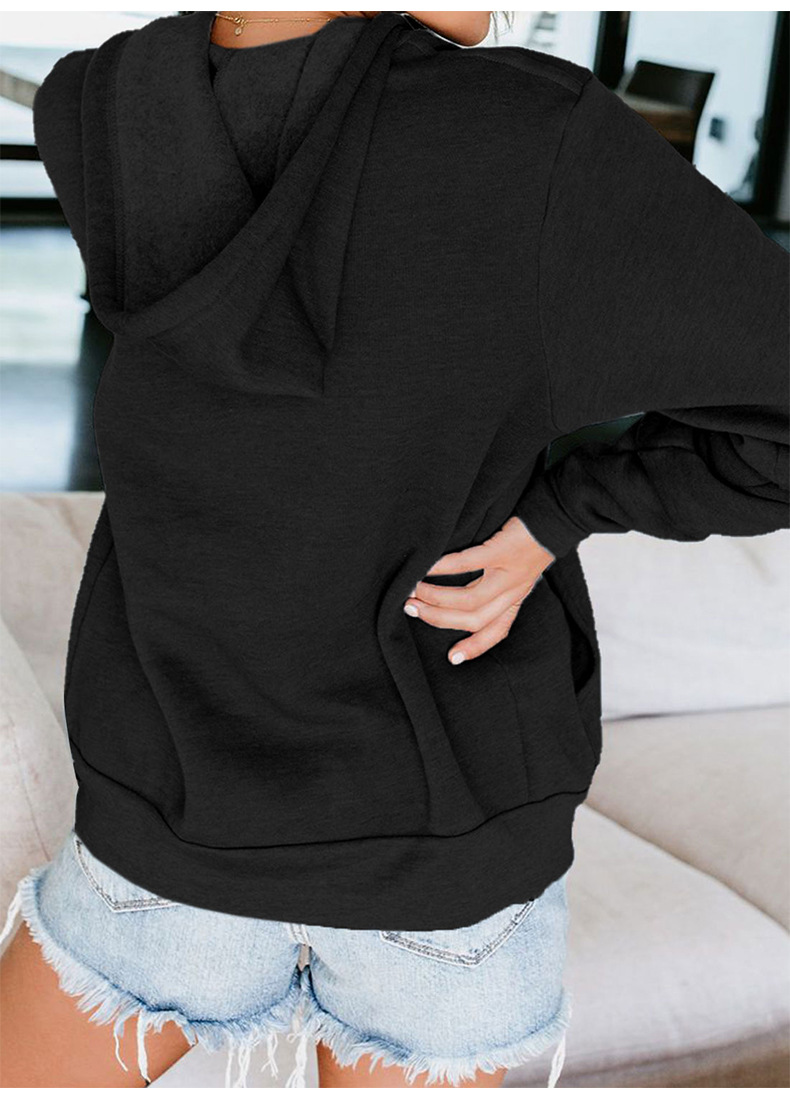 cardigan long-sleeved pure color hooded pocket zipper women's sweater  NSSI2385