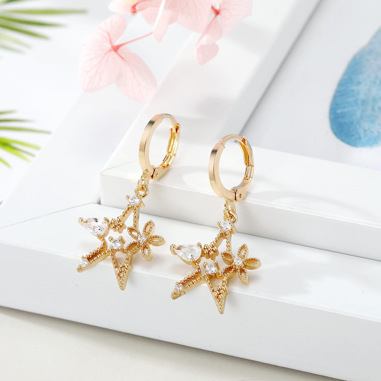 adornos mini aretes estrella zircon relámpagos pendientes cruzados pendientes micro-set pendientes al por mayor NHGO217501