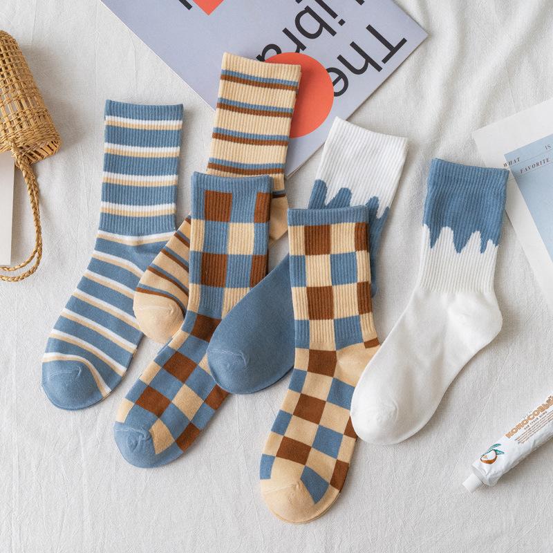 袜子女蓝白格子中筒袜ins潮春夏季薄款条纹长袜女日系格子长筒袜
