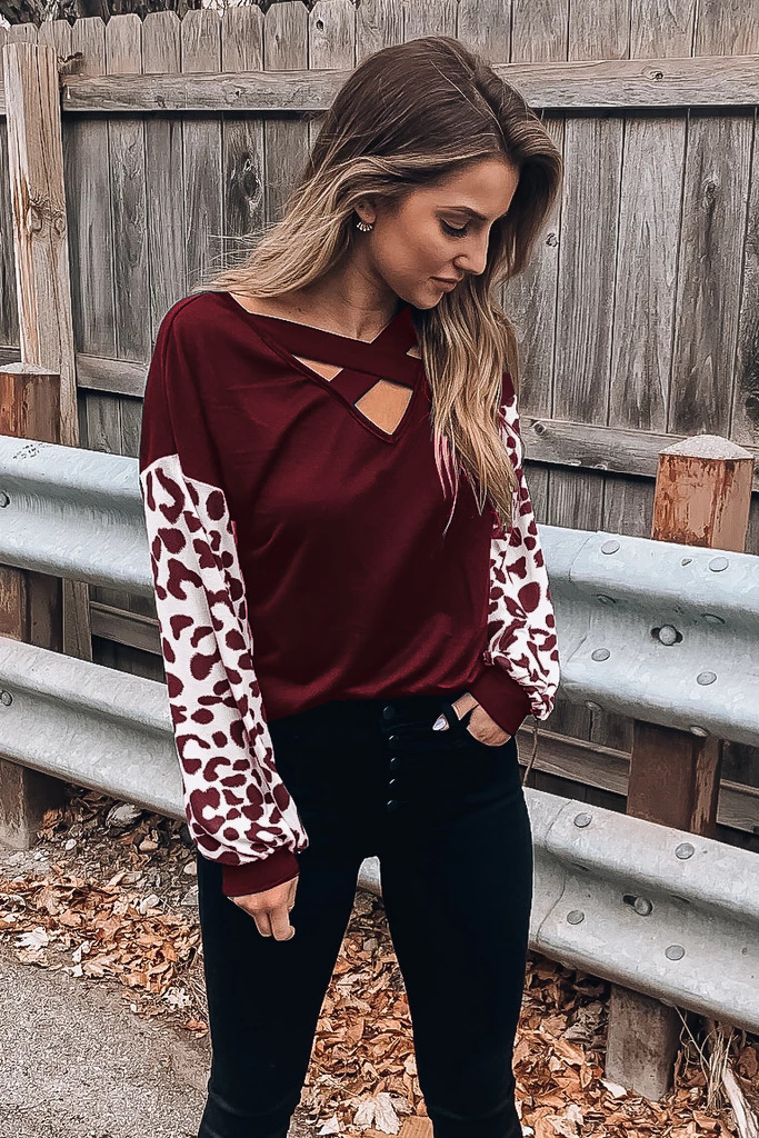 new style hot sale V-neck cross stitching leopard print casual long-sleeved T-shirt NSYD3748