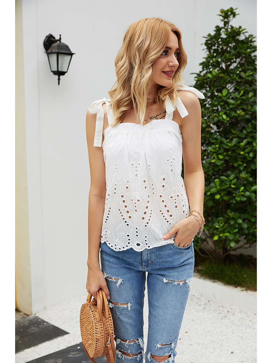 summer casual women's cotton lace-up collar loose-fitting sling NSAL3520