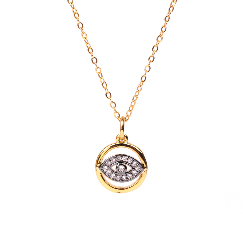 Vintage Gold Plated Devil's Eye Round Card Coin Necklace Stainless Steel Eye Necklace NHPY198219