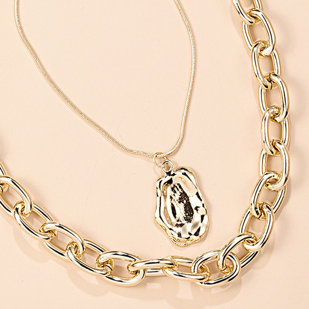 fashion punk style double alloy pendant creative chain hip hop necklace nihaojewelry wholesale NHMD215236