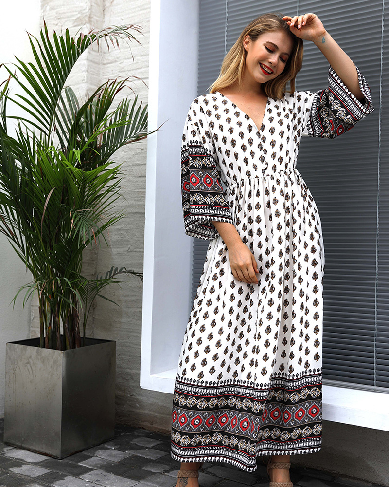 autumn new women's printed v-neck bohemian waist contrast stitching new dress NSKA1055