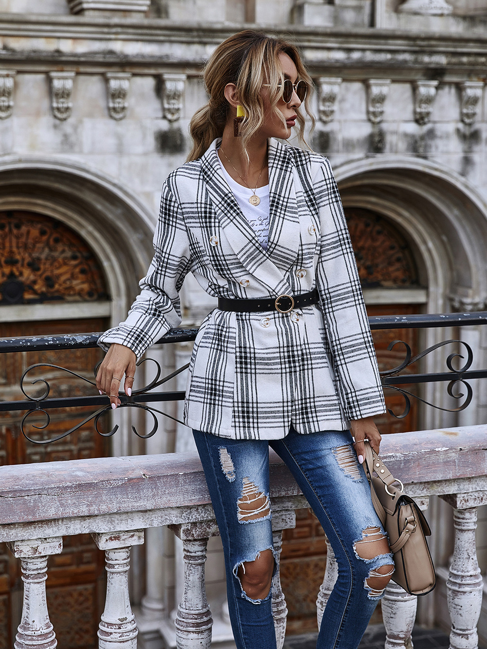 new slim-fit plaid double-breasted small suit women long-sleeved jacket wholesale NHDF28